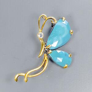 Turquoise Brooch Silver 925 Sterling Jewelry Fine Art /NB08492