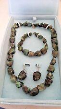 Stauer Natural Emerald Stone Necklace earrings & bracelet set w/original box