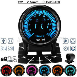 "2"" 52mm Voltmeter Voltage Gauge Volt Meter Digital 10 Color LED Display Aluminum"