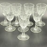 "Vintage Cordial Glasses Set of 8 Clear Crystal Cut Glass 3.5"" Tall GS"
