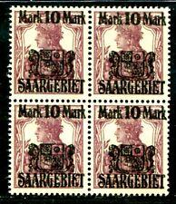 SAAR 1921 52 ** POSTFRISCH VIERERBLOCK + SIEGELABDRUCK 170€++(S2144