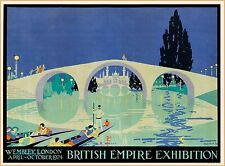 1924 British Empire Exhibition England Vintage Travel Advertisement Art Poster