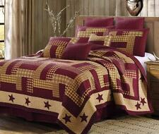 HOMESTEAD RED BARN STAR King QUILT SET : PRIMITIVE FARMHOUSE BURGUNDY PATCHWORK
