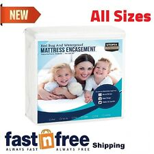 Utopia Mattress Protector Zippered Encasement Bed Bug Water Proof Cover New