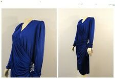 Vintage Dress Filigree Plus Size Royal Blue Satiny 30s Style Wrap Sequin Accent