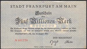 1923 5 Million Mark Frankfurt Germany Vintage Emergency Paper Money Banknote XF