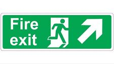 300mm x 100mm FIRE EXIT - RIGHT & UP Health and Safety Directional Sticker/Sign