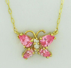 PINK & WHITE SAPPHIRES BUTTERFLY NECKLACE 10K GOLD* New With Tag *