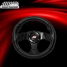 Universal Black Pvc Leather Carbon Look 280Mm Racing Steering Wheel+ Horn Button
