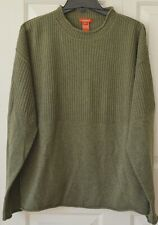 Sundance Mens L Wool Pullover Sweater Rolled Neck Sleeve Bottom Green Ribbed