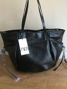 ZARA black CRACKED-EFFECT TOTE large  BAG handbag  new with tags