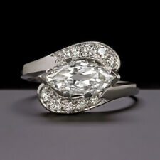 1 CARAT MARQUISE CUT DIAMOND ENGAGEMENT RING WHITE GOLD BYPASS COCKTAIL ESTATE
