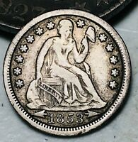 1853 Seated Liberty Dime 10c Arrows High Grade Good Date Silver US Coin CC4388