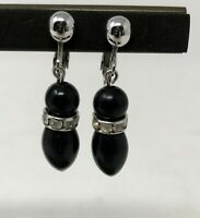 Sarah Coventry Woman's Earrings Signed Vintage Black Dangle Rhinestone Clip on