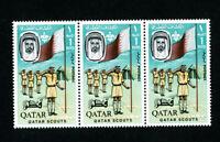 Qatar Stamps # 60 XF OG NH Strip 3 Scott Value $72.00