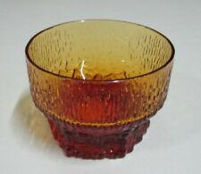 Vintage Amber / Orange Pressed Glass Hexagonal Base - Small Serving Bowl - 1970s