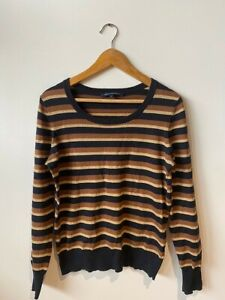 French Connection Sensational Navy, Gold and Tan Striped Jumper Large