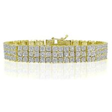 1.00ct TDW Diamond Miracle Set 3-Row Tennis Bracelet in Gold Plated Brass