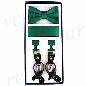 New Y back Men's Vesuvio Napoli Suspenders Bowtie Hankie clip on Emerald Green