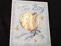 #768 Sweetest Vintage 1940s Baby Congrats Greeting Card Calico Bonnet Blue Bow