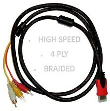 HDMI to 3 RCA HD TV Cable AV Audio Video Universal Lead Red White Yellow 1.5M UK