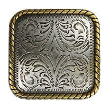 "Western Equestrian Decor Antique Silver/Gold 1-1/2"" Square Conchos Set of 6"