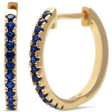 Yellow Gold Plated Blue Sapphire .925 Sterling Silver Hoop Earring