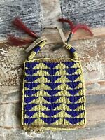 c50aaaed58f Late 1800s Native American Apache Indian Beaded Hide Bag Ration Card Pouch