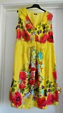 STUNNING YELLOW FLORAL COTTON SUMMER MIDI-DRESS SIZE 22!!!