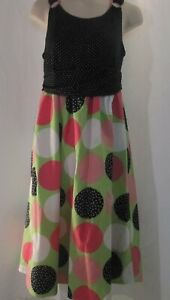 Bonnie Jean Sleeveless Black and White Dress with Polka Dots Size 16