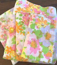 Vintage Marvelaire Springmaid Floral Muslin FULL SHEET SET Floral HIPPIE BOHO