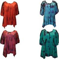PLUS SIZE TIE DYE FUNKY EMBROIDERED TUNIC TOP FREESIZE ONESIZE UP TO UK SIZE 28