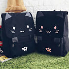 1Pcs Backpack Embroidery Casual Black School Bag Canvas Cute Cat Cartoon