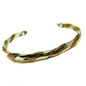 Sergio Lob Signed Bracelet Open Cuff Mixed Metal Silver Copper Twisted Braid