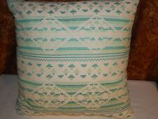Xhilaration Throw Toss Pillow Decorative White Blue Green Geometric Stitched