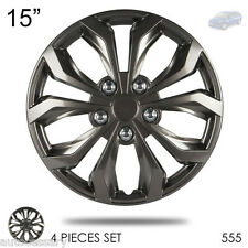 """For Mazda 555 New 15"""" Hubcaps ABS Gunmetal Finish Performance Wheel Covers Set"""