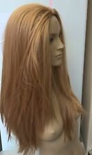 dark blonde straight 3/4 half head half cap long hair wig fancy dress party
