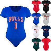 Plus Size Ladies Womens Jersey Bodysuit Bulls 1 Print Short Sleeves Top Leotard