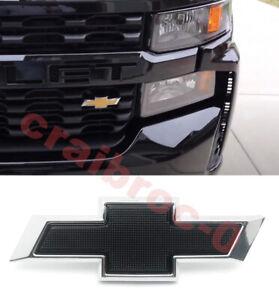 Front Small Black Chrome Bowtie for 2019-2021 Chevy Silverado 1500 2500HD 3500HD