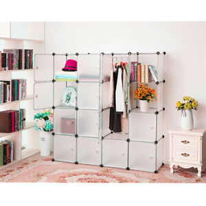 16 Cubes Interlocking Plastic Wardrobe Cabinet Storage and Organizer Bedroom new