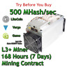 Bitmain Antminer L3+ 500 MHash/sec Guaranteed 7 Days Mining Contract Scrypt