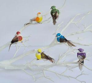 6 Rainbow Foam Craft Birds Artificial Decoration Party Home Christmas Tree