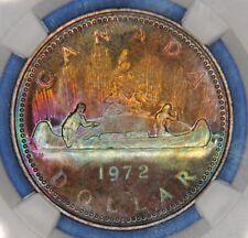 1972 Canada Canadian 1 $ Silver Dollar NGC SP 68 PQ++  Amazing Rainbow Toning