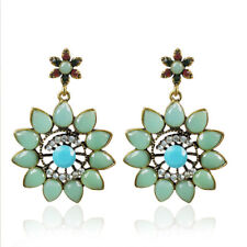 Fashion Bohemia Style Light Emerald Green Resin Crystal Flower Earring IE14
