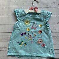 Girls 2 Years - Short Sleeved T-shirt GYMBOREE Turquoise Blue Summer Embroidered