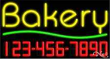 """NEW """"BAKERY"""" W/YOUR PHONE NUMBER 37x20 REAL NEON SIGN W/CUSTOM OPTIONS 15017"""