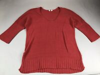 Anthropologie Moth Red Large L Knit Sweater Top Tunic Cotton Linen Scoop Neck