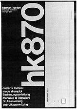 Harman Kardon HK870 Receiver Owners Manual