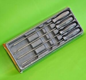 BRAND NEW Snap On Tools 4pc Graphite Grey Hard Grip Extra Long Mini Pick Set