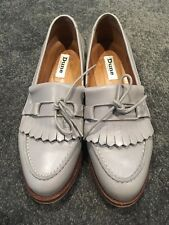 Women's Dune Grey Leather Loafers Size 5